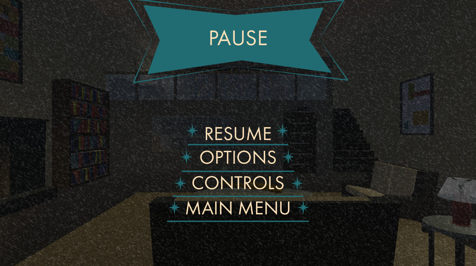 Pause can be brought up in the hub world or during the mini games. There is an overlay on the game to contrast with the buttons. From Pause, the player can Resume, go to the Options Menu, check the Controls, or return to Main Menu.