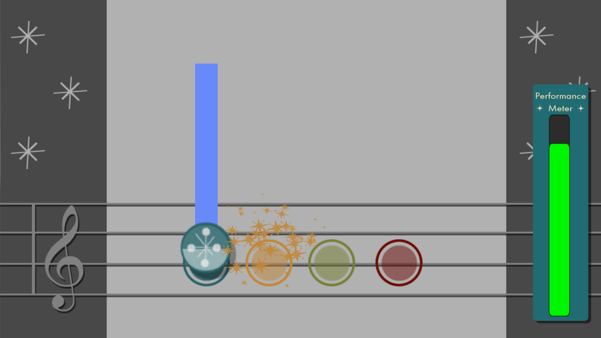 The Performance Meter is shown in the Note Matcher mini games. It decreases if the player misses notes and increases if they play them correctly. If it empties out completely, the player fails the mini game and is returned to the hub world.