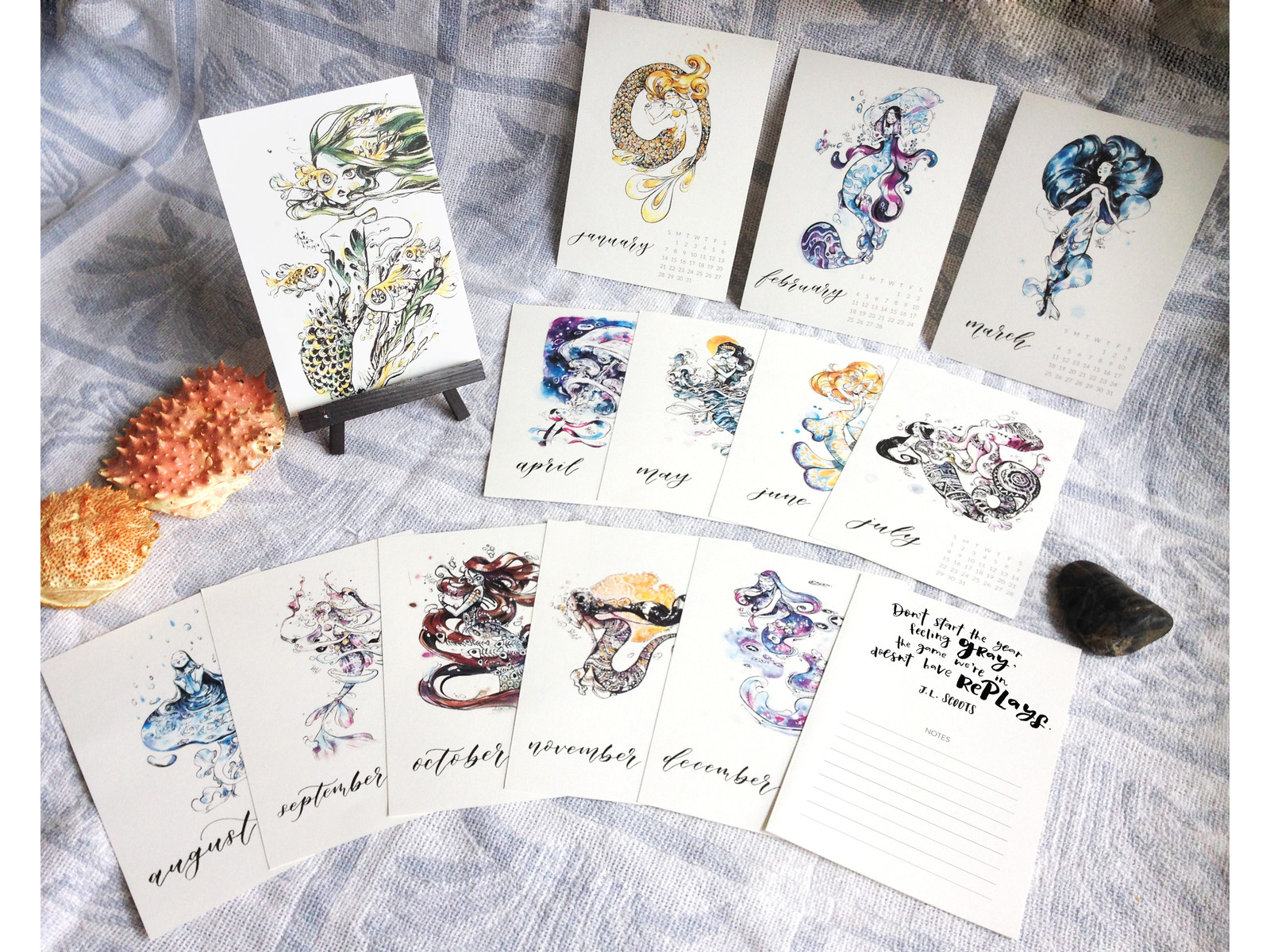 The full set, comes with 2 extra mermaid cards and 12 month cards.