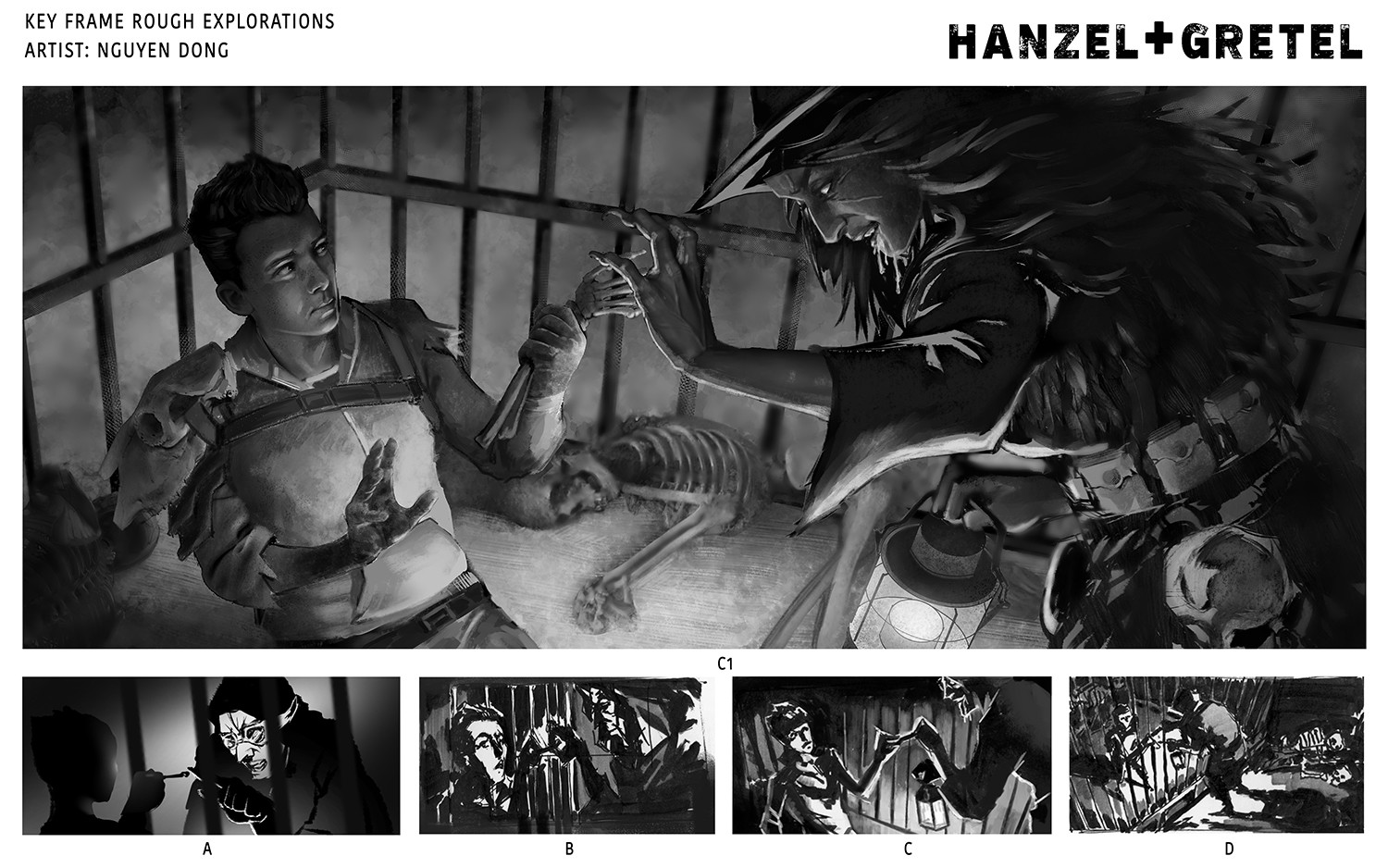 Hanz tricks the blind cannibal witch by handing her a chicken bone instead of his own finger.  Rough keyframe explorations