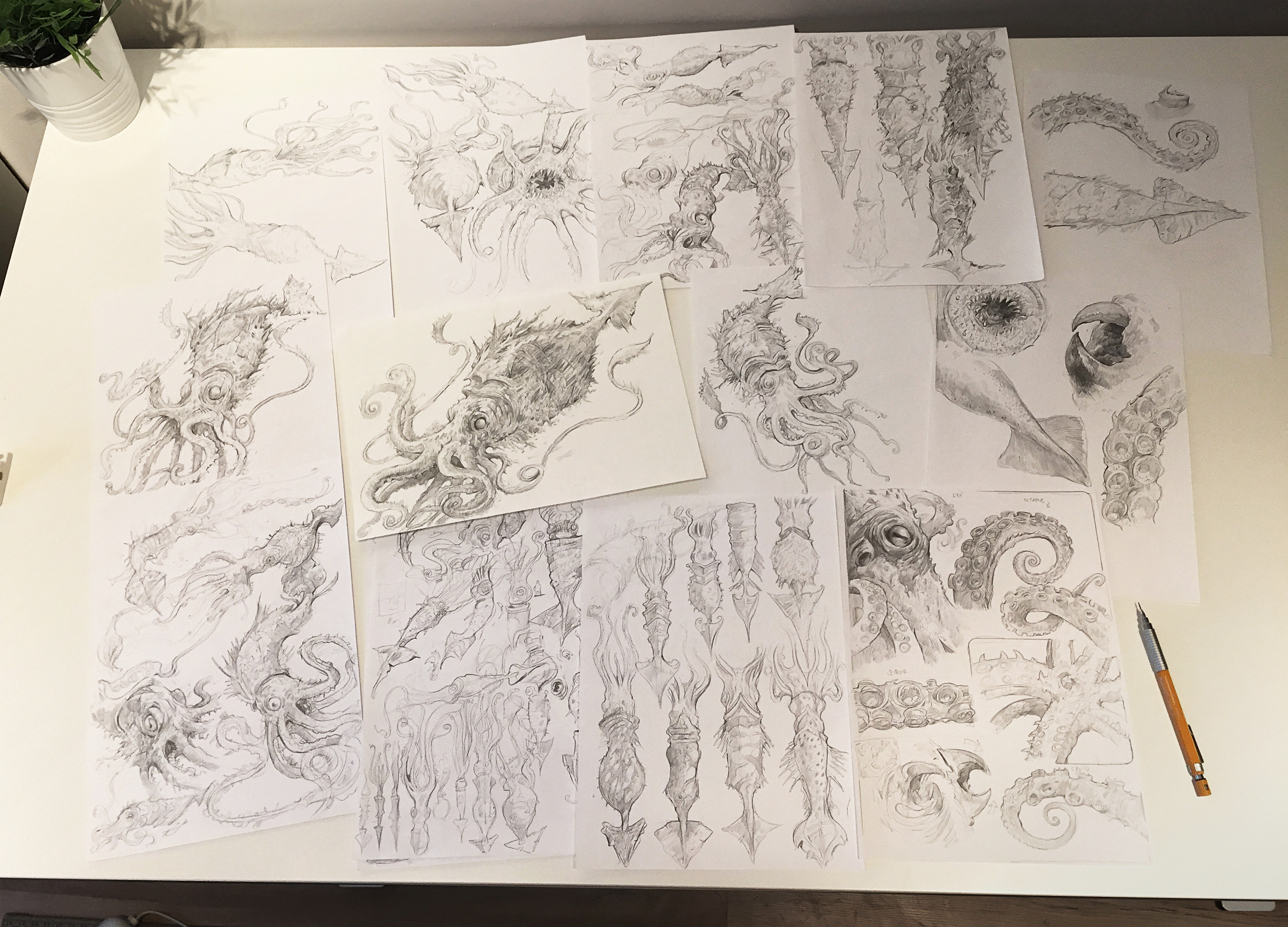 entire sketch collection for the Kraken creation