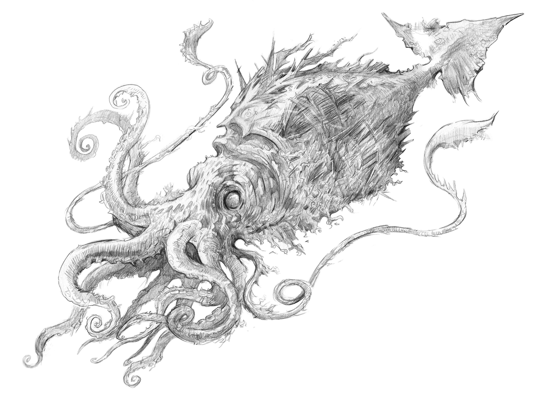 Final pencil illustration of Kraken
