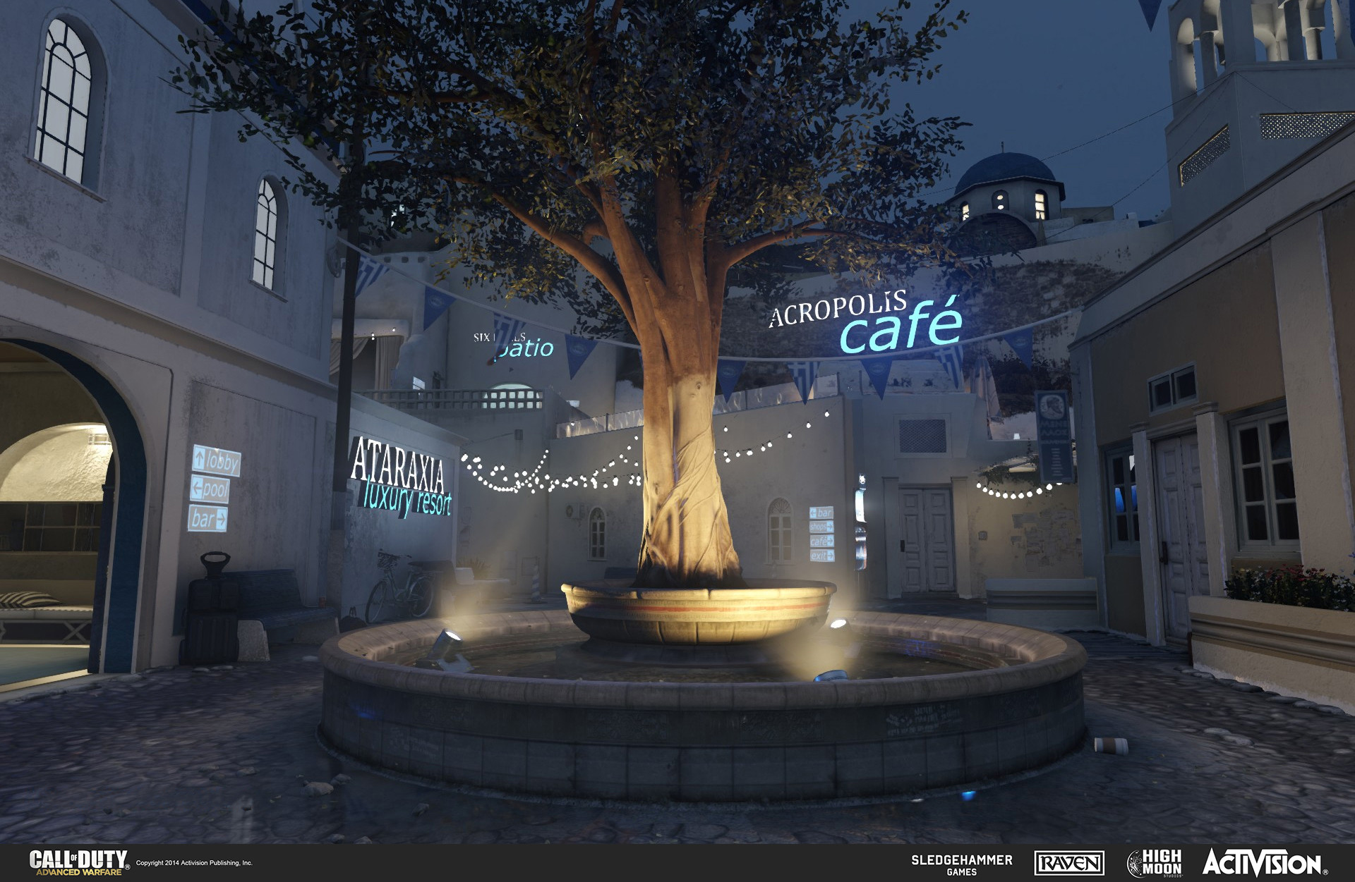 Geo work for fountain and light canisters in the multiplayer map Terrace. The fountain was created in the game engine and the light canisters in 3DSMax. Also in the background are hanging wires (for the lights) and lit signs, both created in 3DSMax.