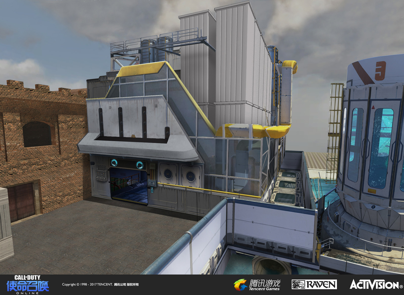 """Concept art I created using photoshop of a water filtration plant. The design aesthetic was influenced by elements of the map """"Solar"""" from Call of Duty: Advanced Warfare"""