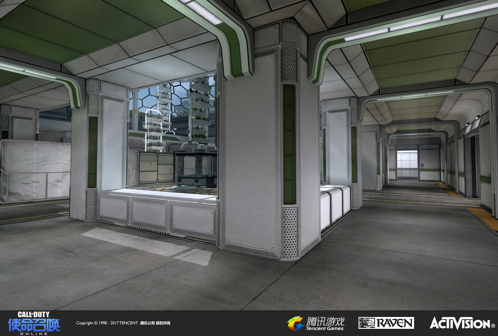 Interior hallways of the first greenhouse building. I built the geo, custom models, and began the material treatment. The green color-coding and some tweaks were added later by our Shanghai team prior to release as we had been moved to another project.