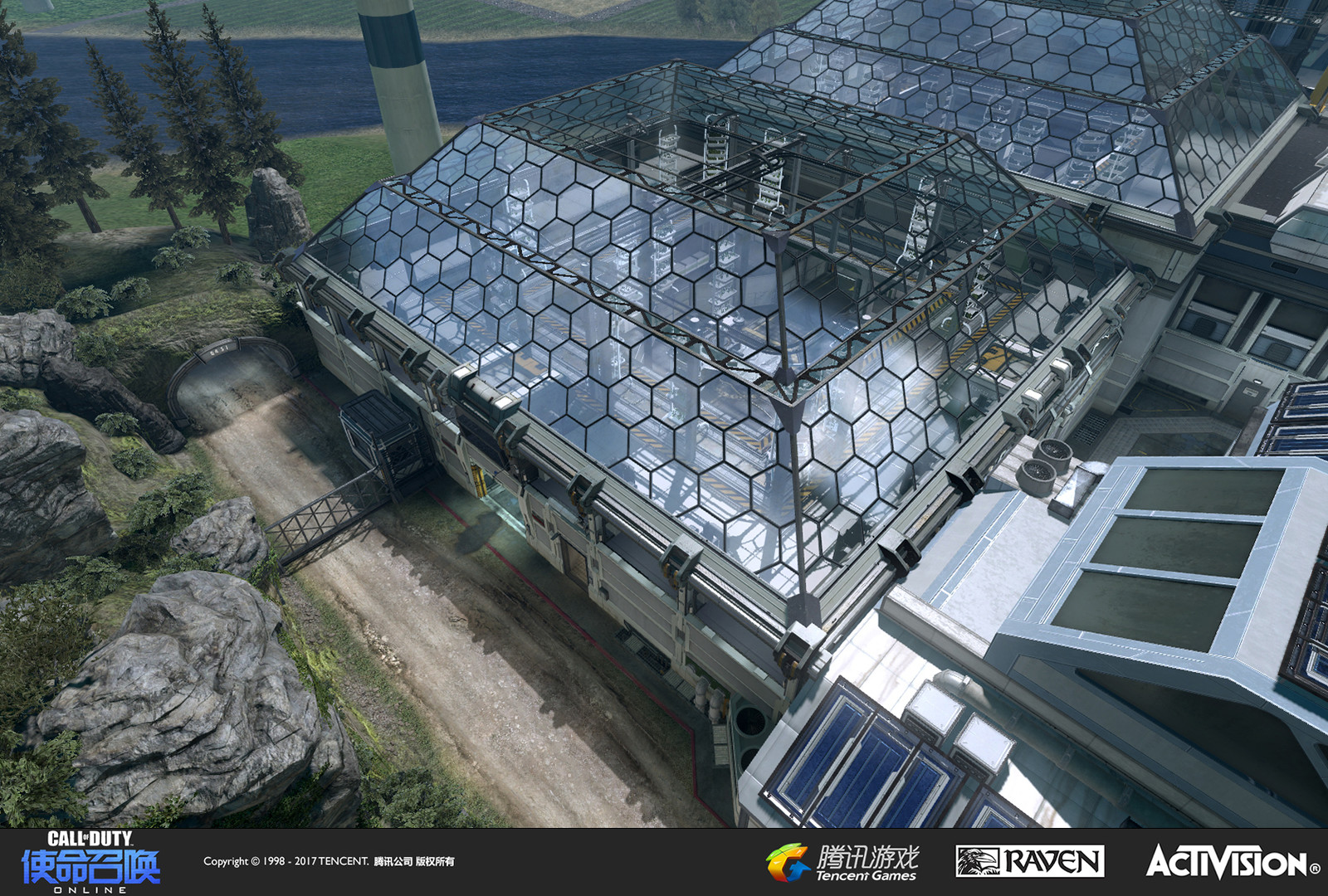 Exterior of the greenhouse buildings. I was responsible for the building geo, custom models, and material treatment. The terrain and near vista was created by Eugene Geer.