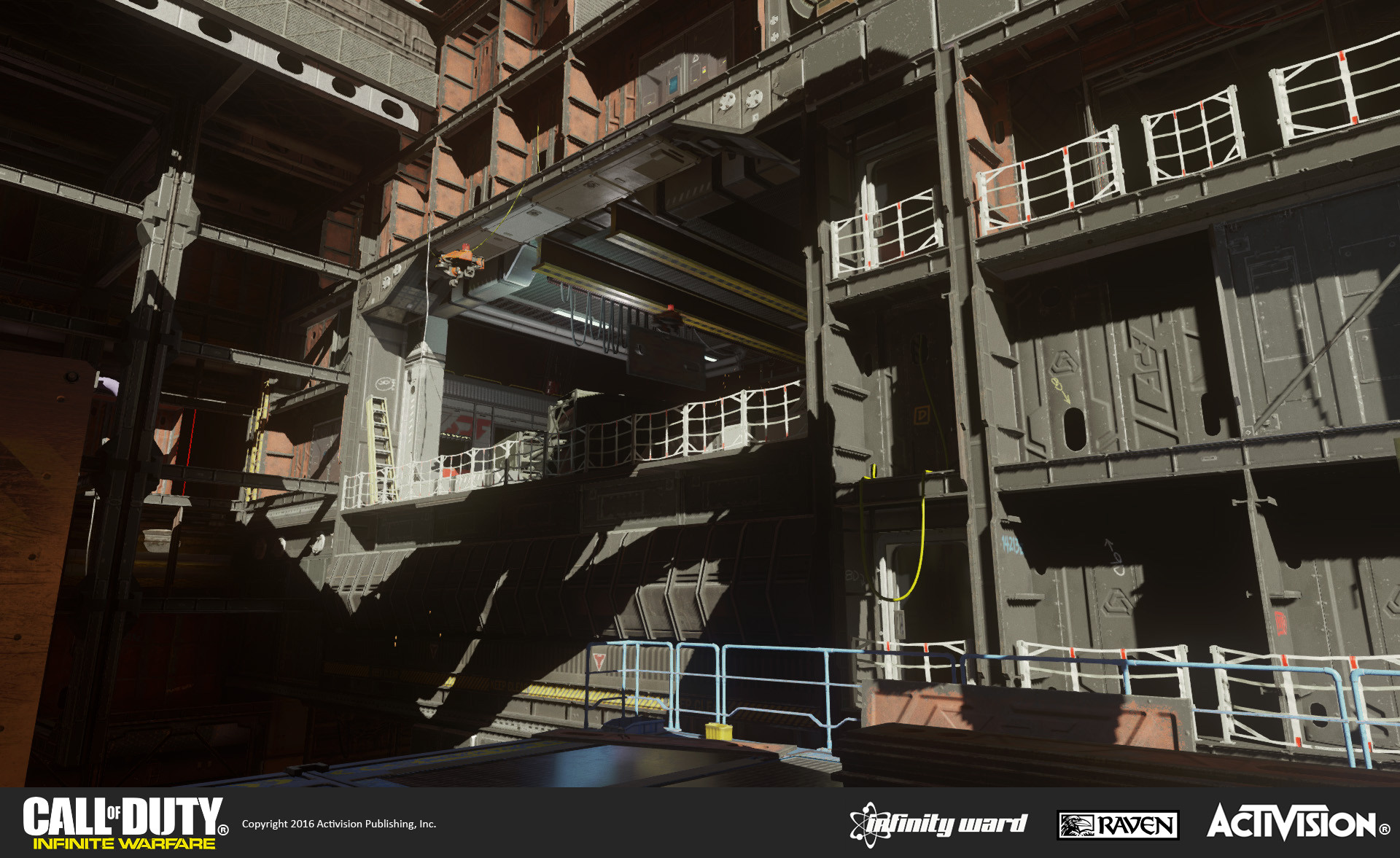 Portions of the ship such as the interior of the loading/landing bay were modified from Single Player. The modular sections were inspired by naval shipyard construction and concept art by Kevin Long.