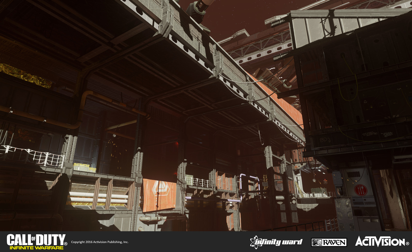 Large near vista of the SDF ship interior under construction. I worked on geo construction and material treatment, augmented by models for set dress. Additional work was done on it by Raquel Garcia.