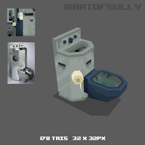 3D Pixel-Art Prison Toilet