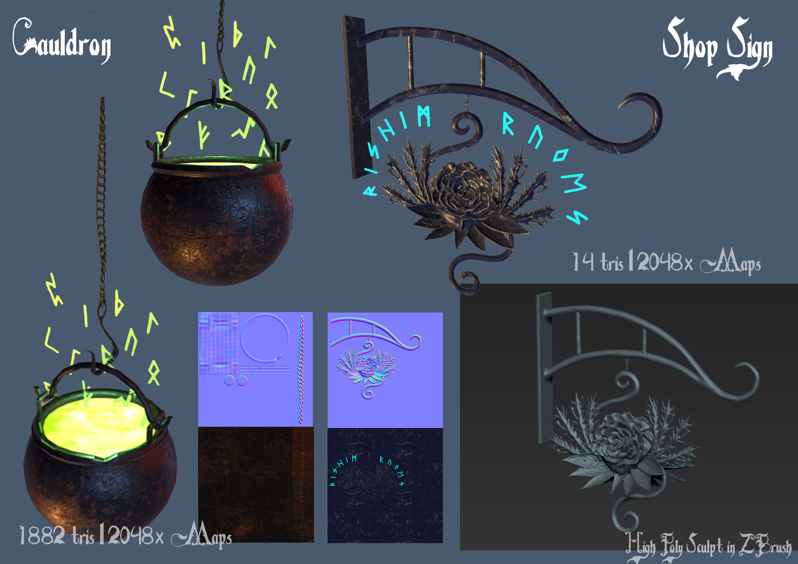 Cauldron and Shop Sign Model Sheet