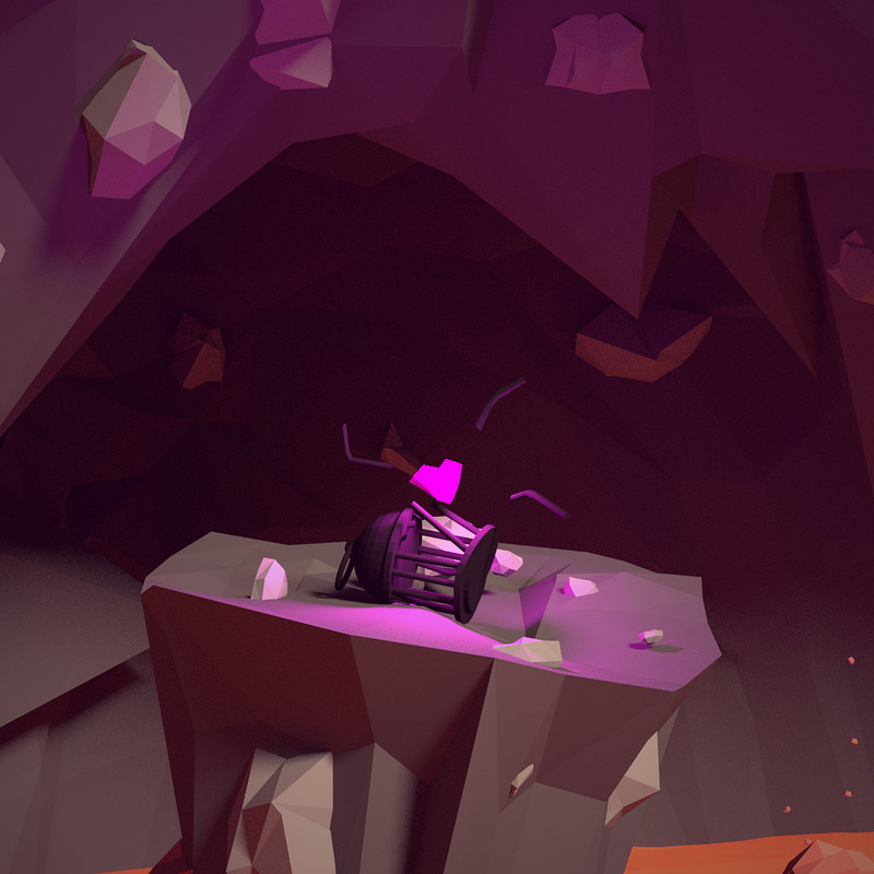 Heart in Cave - low poly scene