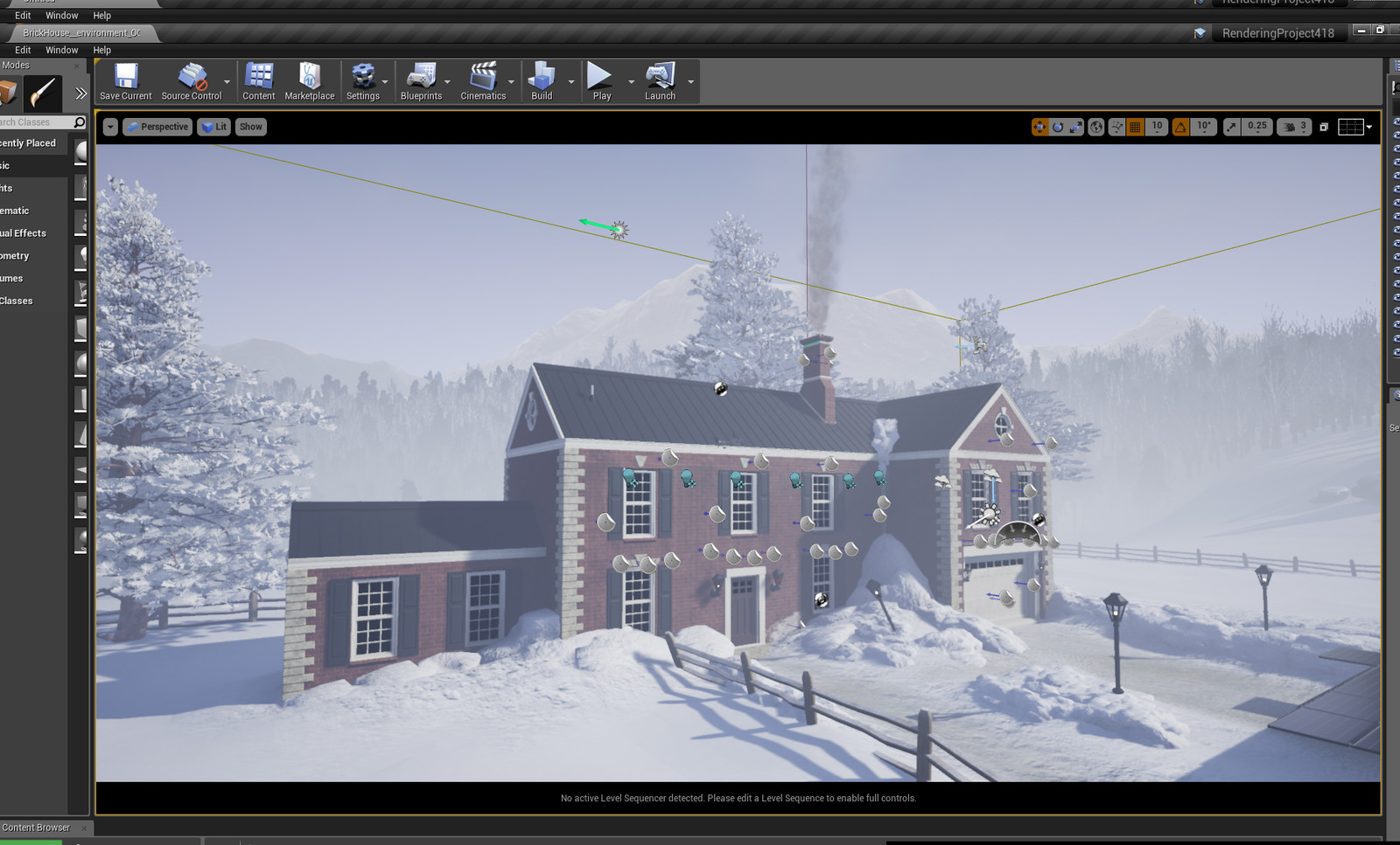 UE4 Screenshot of the scene setup