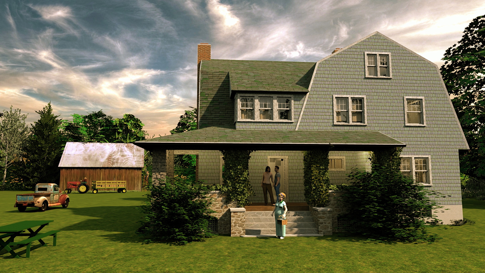 """""""Mason Farm - Home, Sweet Home"""" Summer Sun Collection  17 Masonfarm HD1080 09b - iP Kodac  """"SketchUp to LayOut"""" The Mason Farm Renders for the launching of the new book """"SketchUp to LayOut"""" http://bit.ly/2j0d0Wh by MasterSketchup."""