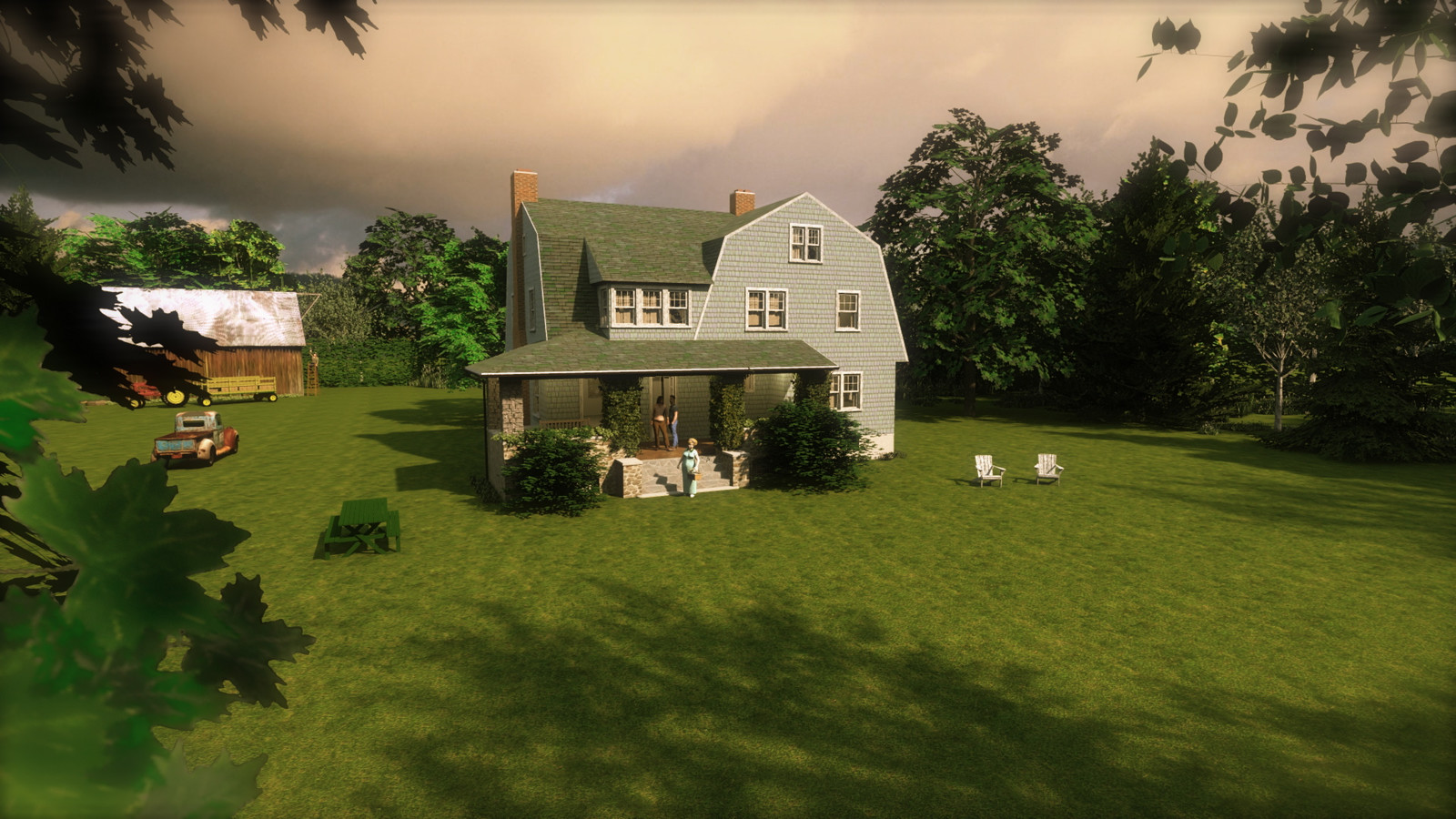 """""""Mason Farm - Smells Like Rain"""" Summer Sun Collection   13 Masonfarm HD1080 07 - iP Kodac  """"SketchUp to LayOut"""" The Mason Farm Renders for the launching of the new book """"SketchUp to LayOut"""" http://bit.ly/2j0d0Wh by MasterSketchup."""