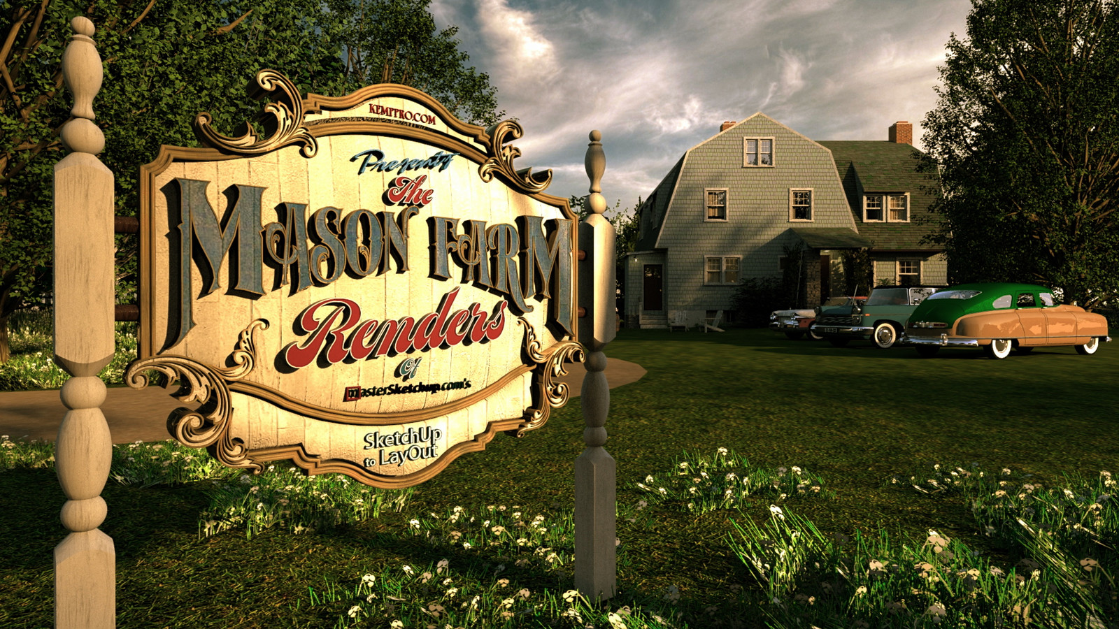 """Final image of the Mason Farm Renders project   10 Masonfarm HD1080 36 - iP Kodac 02  """"SketchUp to LayOut"""" The Mason Farm Renders for the launching of the new book """"SketchUp to LayOut"""" http://bit.ly/2j0d0Wh by MasterSketchup."""