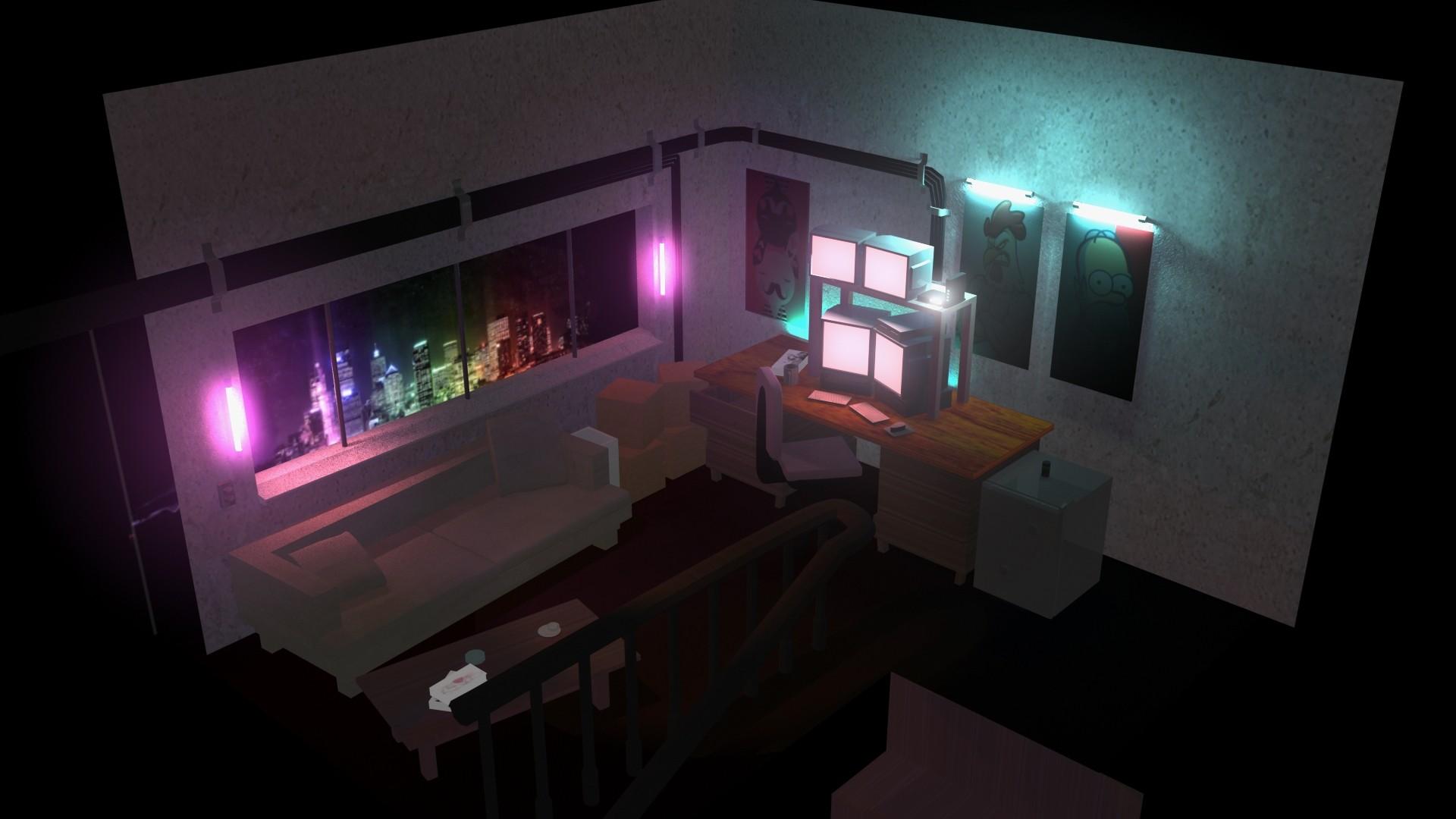 Artstation Room Neon Lighting Dion Ow