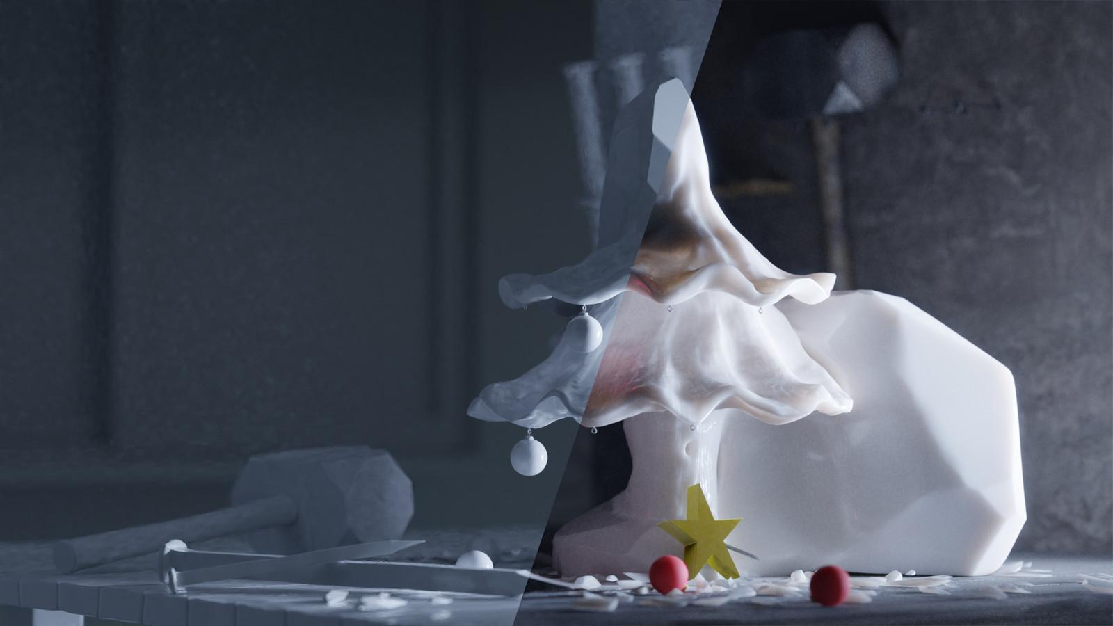 comparison: White clay shader / final render