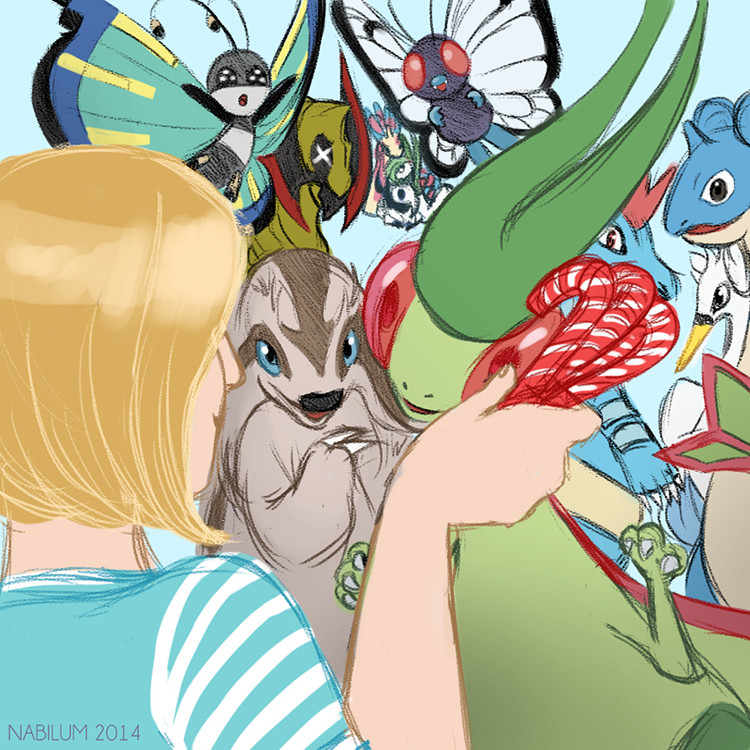 Sixteenth Day - The lot and candy canes don't mix (Flygon, Vivillon, Linoone, Lapras, Feraligatr, Swanna, Haxorus, Butterfree Milotic, Gardevoir and Absol)