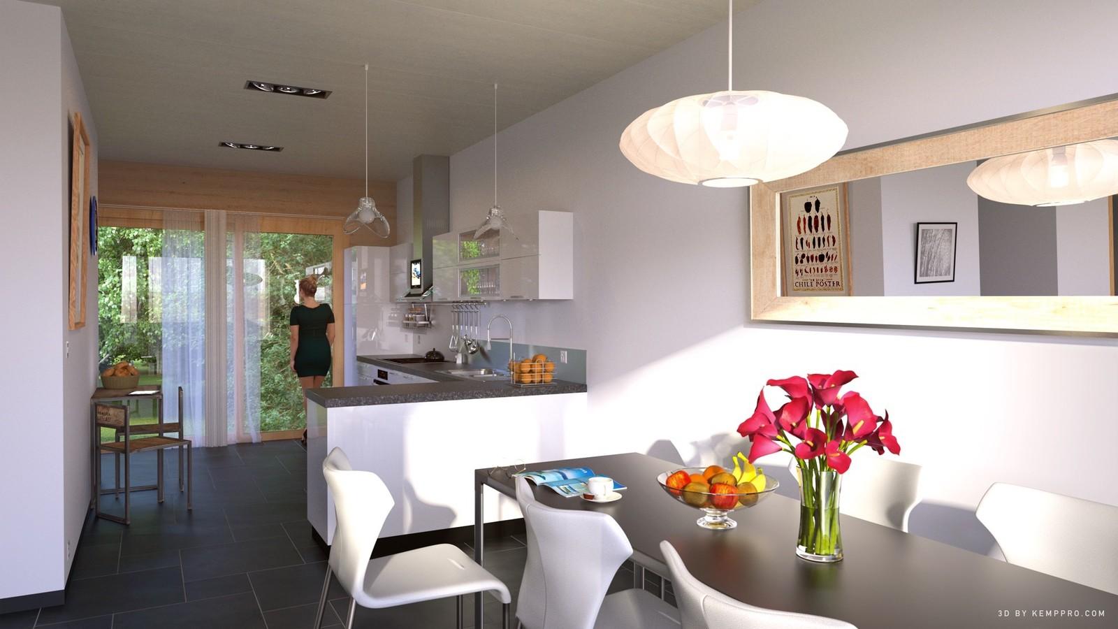 Architect - Braa Geneva  01 Dining to Cuisine L-R   KP webpage of project: http://www.kemppro.com/KP_3D_communication_3_Villas_Veyrier.html