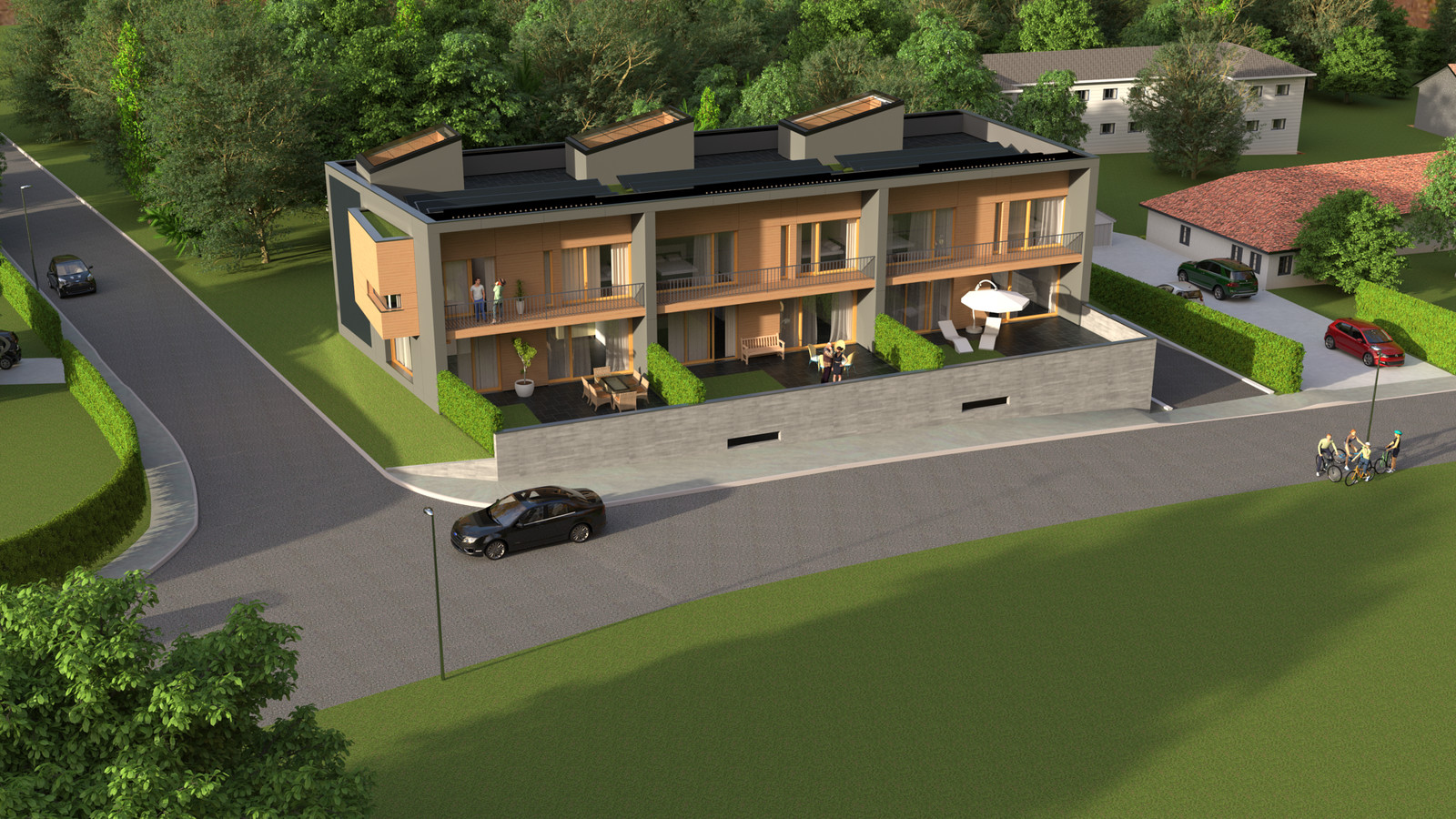 12 Exterior SW Corner Far Arial 02  KP webpage of project: http://www.kemppro.com/KP_3D_communication_3_Villas_Veyrier.html