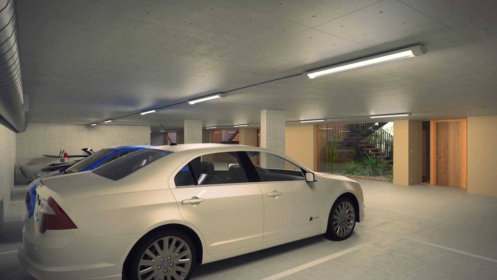 23 A1309-Villas Portier 3d STAIRCASE-GARAGE-Garage SE Corner 02 Post  KP webpage of project: http://www.kemppro.com/KP_3D_communication_3_Villas_Veyrier.html