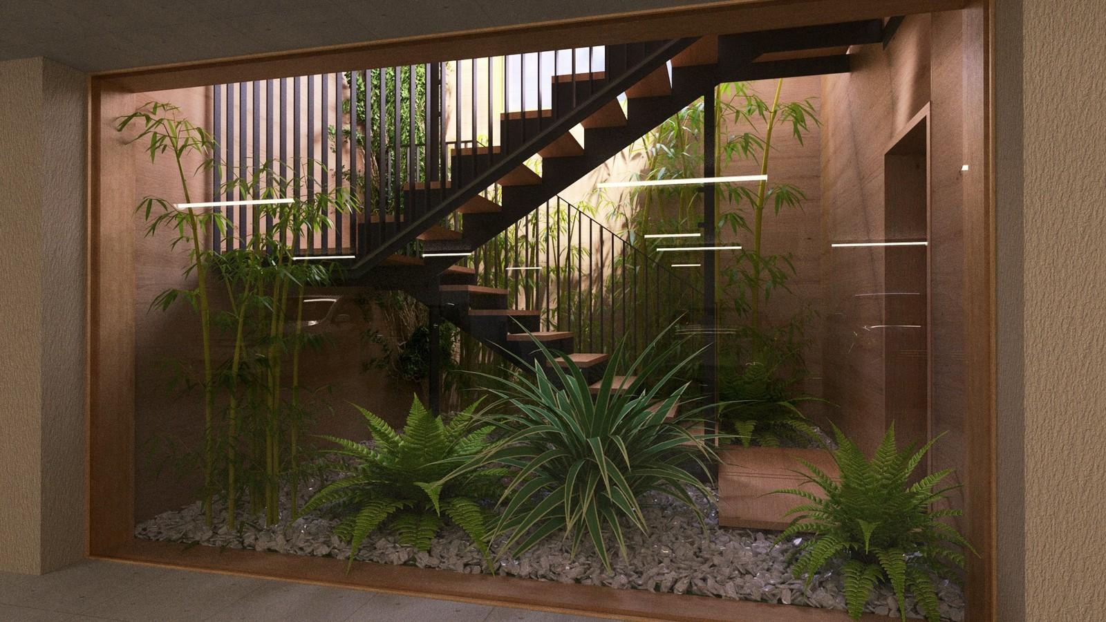 25 A1309-Villas Portier 3d STAIRCASE-GARAGE-Garage Bottom stairwell b2 Post 02  KP webpage of project: http://www.kemppro.com/KP_3D_communication_3_Villas_Veyrier.html