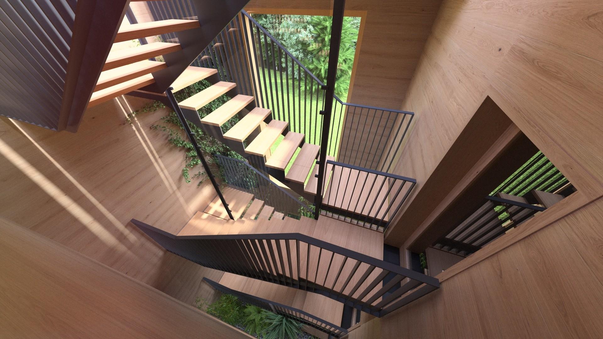 Duane kemp 28a a1309 villas portier 3d staircase garage staircase 2nd floor 01g post