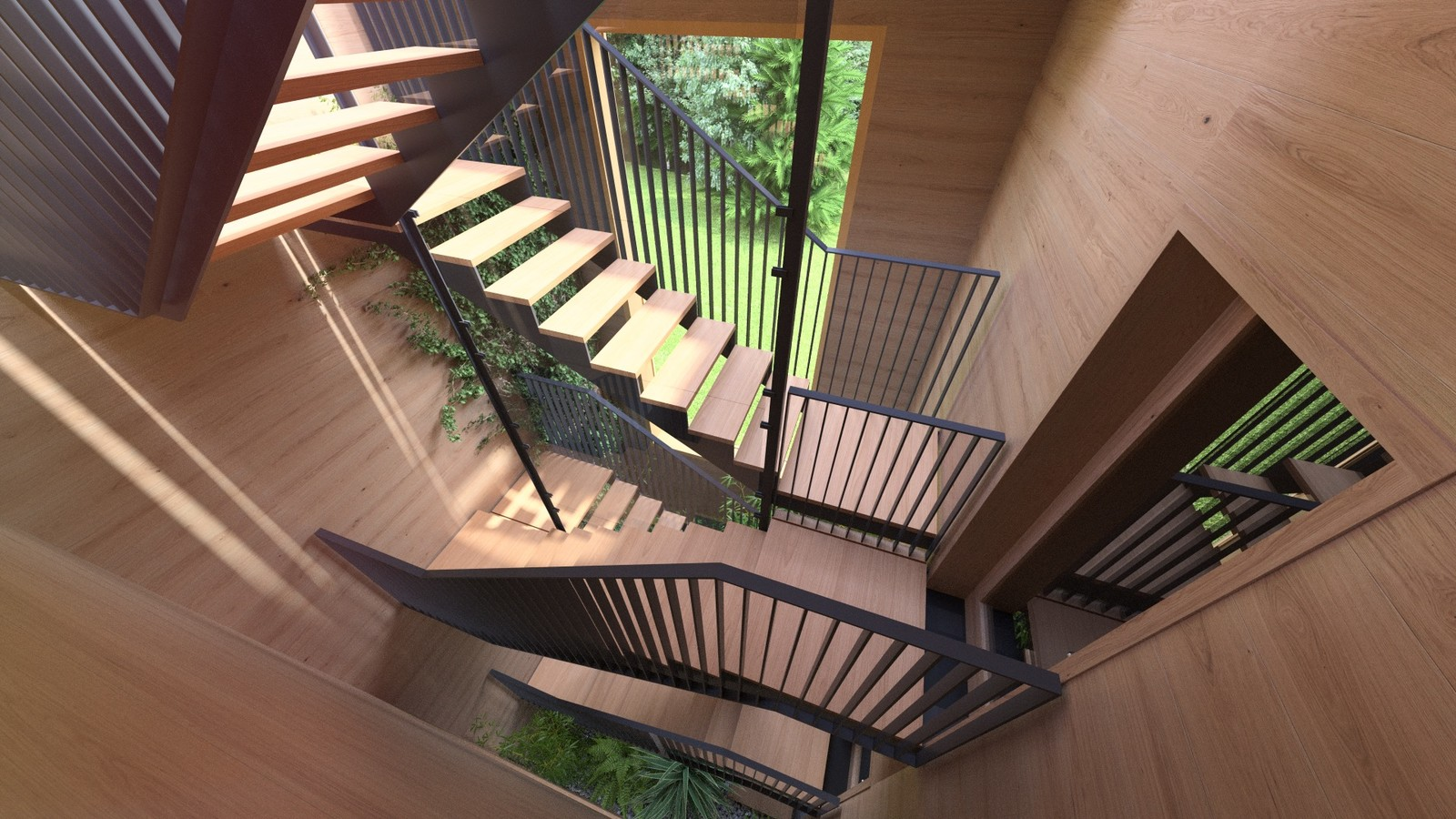 28A A1309-Villas Portier 3d STAIRCASE-GARAGE-Staircase 2nd floor 01G Post  KP webpage of project: http://www.kemppro.com/KP_3D_communication_3_Villas_Veyrier.html