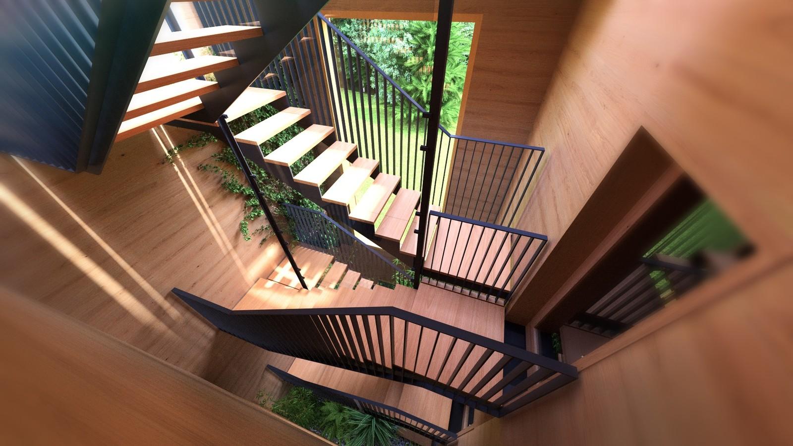 28B A1309-Villas Portier 3d STAIRCASE-GARAGE-Staircase 2nd floor 01G  KP webpage of project: http://www.kemppro.com/KP_3D_communication_3_Villas_Veyrier.html