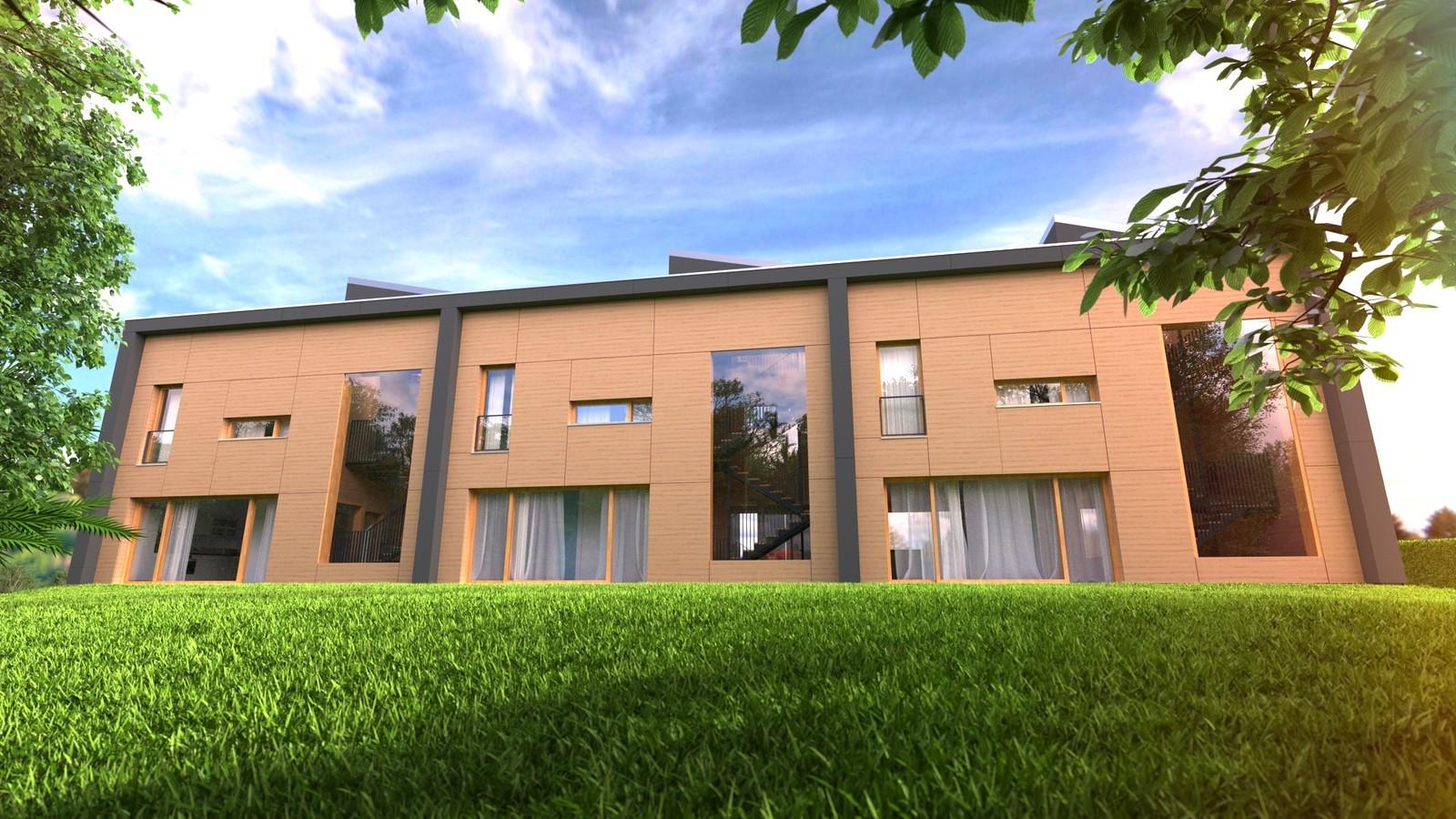 31 Exterior N ground level 04 Orange 40  KP webpage of project: http://www.kemppro.com/KP_3D_communication_3_Villas_Veyrier.html