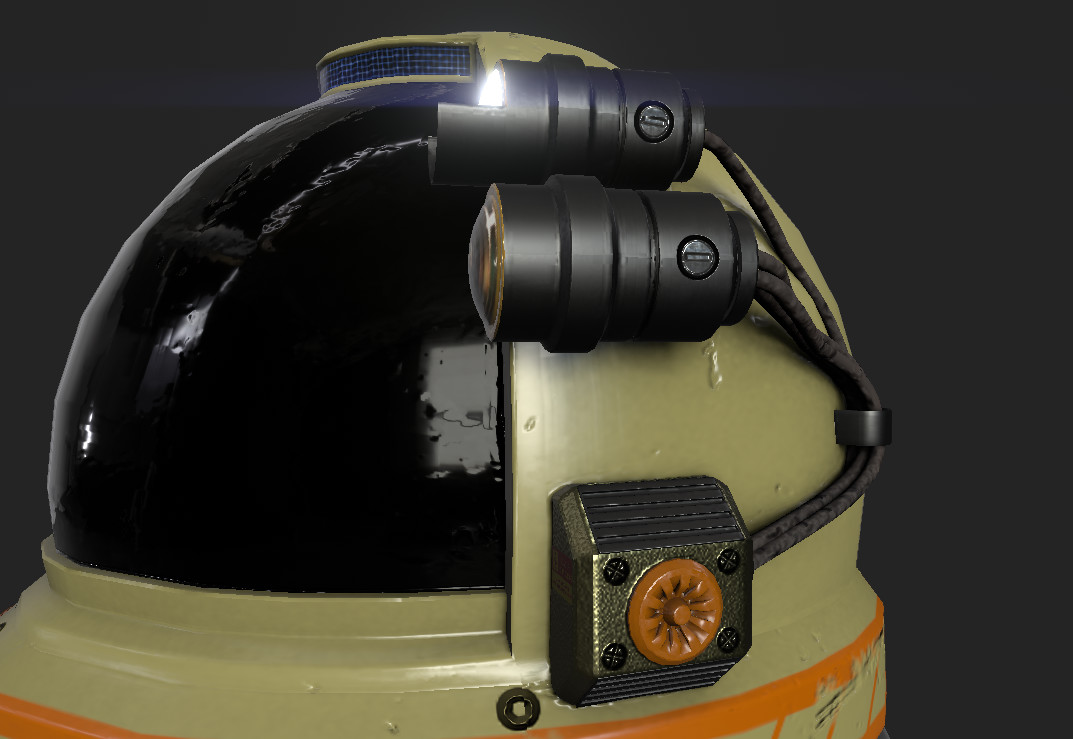 Helmet attachments, camera and flashlight with power box.