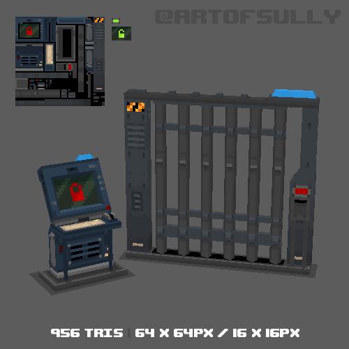 3D Pixel-Art Prison Gates (Commission)
