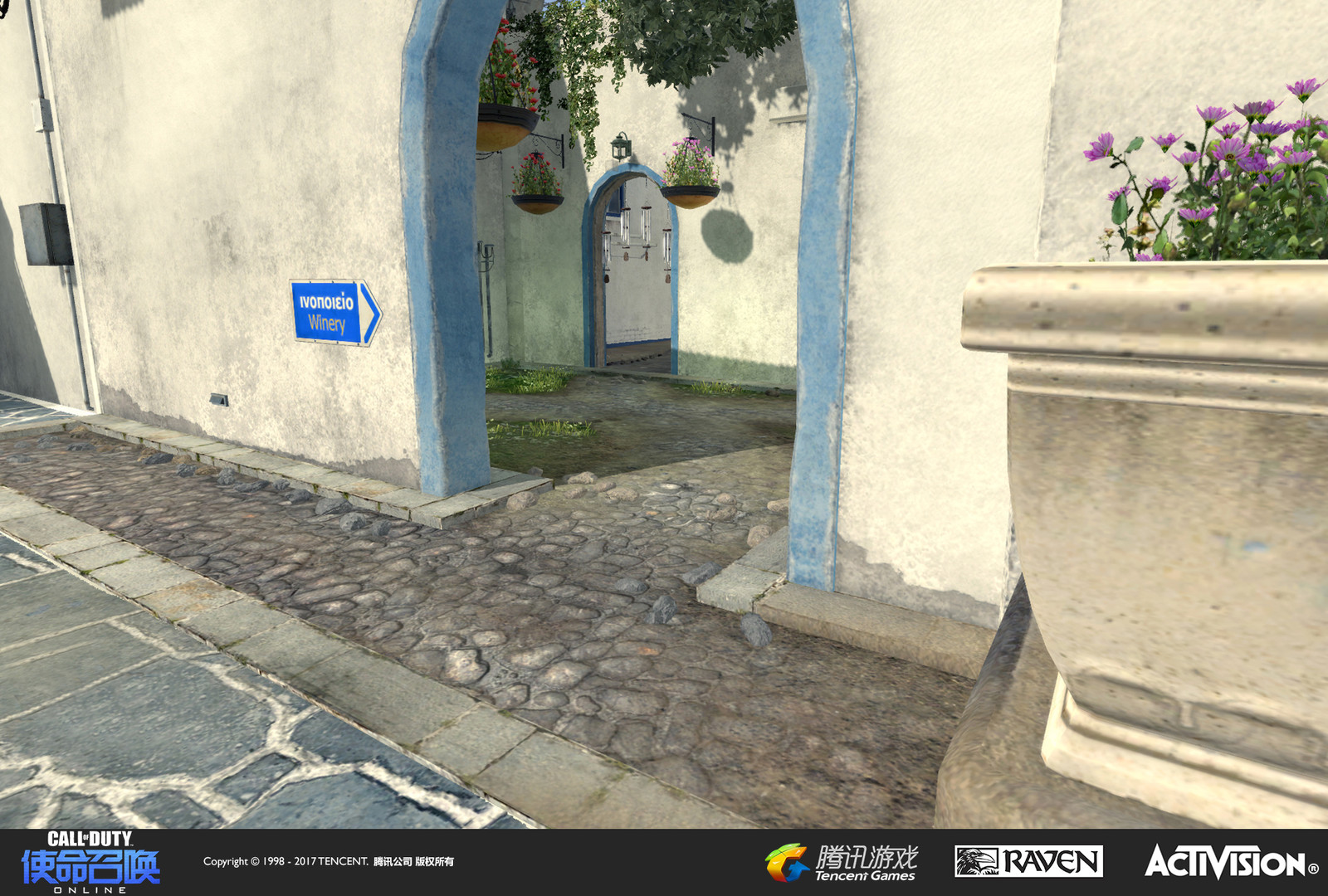 Terrain and some set dress of the small garden courtyard wedged into the Tunisia map. Creating unique landmarks to differentiate space helps to orient players. Other set dress by Gabriel Cervantes.