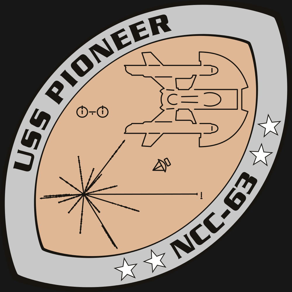 The patch for the USS Pioneer, one of the main ships of the 'Star Trek: Rise of the Federation' novels. The patch is based on the Pioneer plaque as well as the patch of the real life USS Pioneer (MCM-9)