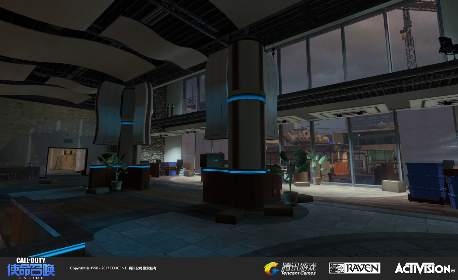 Interior of re-created building cafe. I was responsible for re-theming, models, set dress, textures, and geo modification.