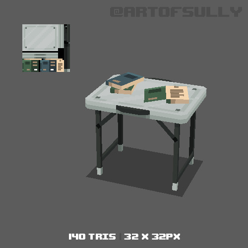 3D Pixel-Art Prison Table (Commission)