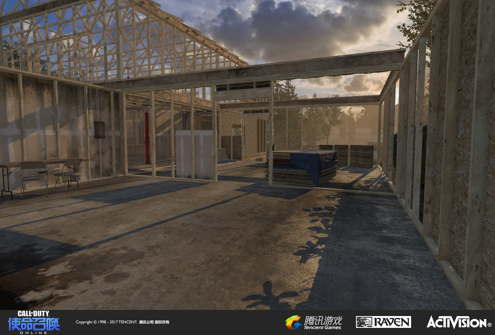 Suburbs: Residential construction site created as an expansion to a re-imagined MW3 map. I created geo, textures, and set dress with an assist by Caleb Tomplait in making the building conform to actual construction specs.