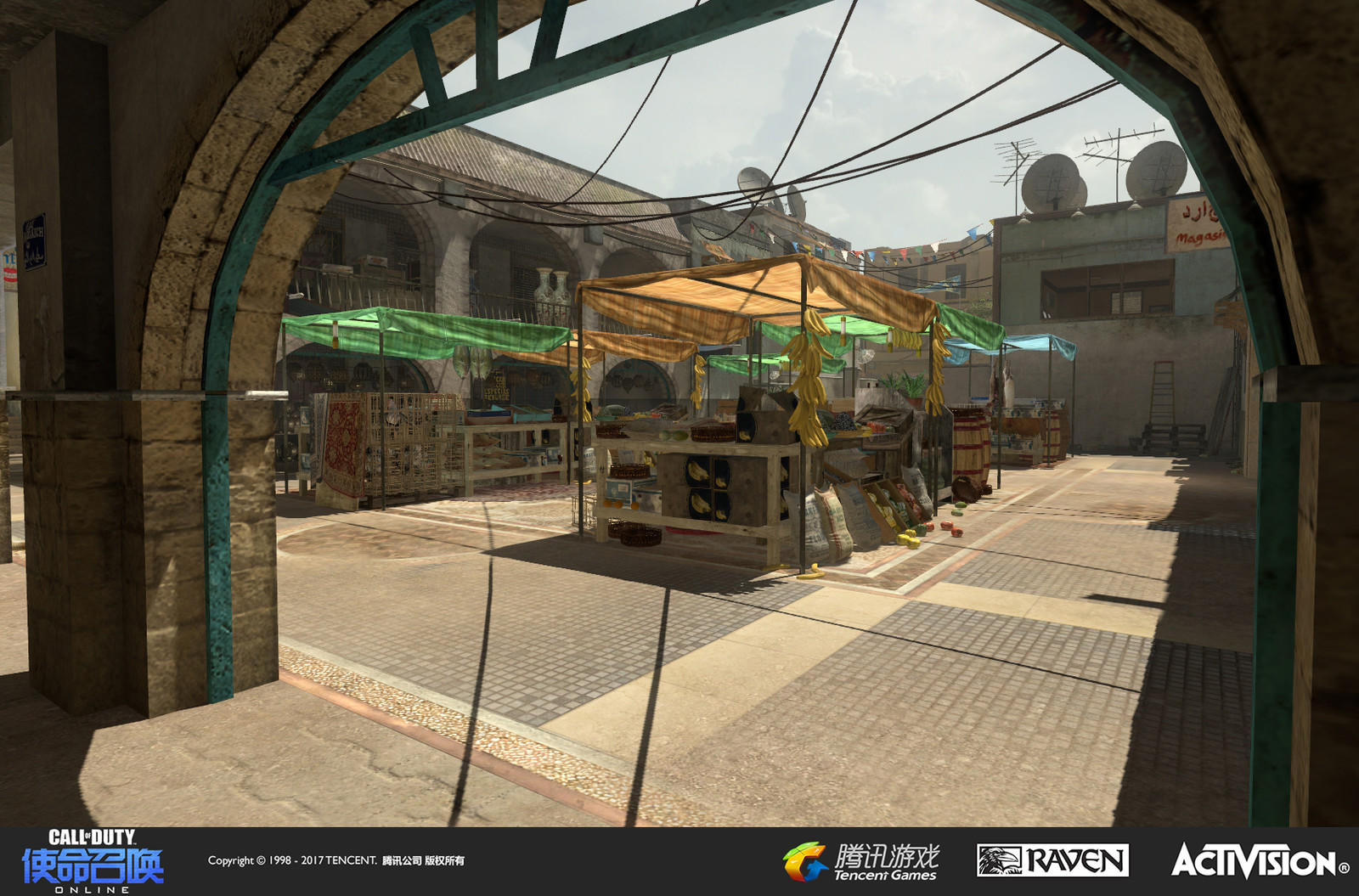 Seatown: A re-imagined multiplayer map originally appearing in Modern Warfare 3. I created the terrain and set dress in this market area (with exception to the market stall cloth tops).