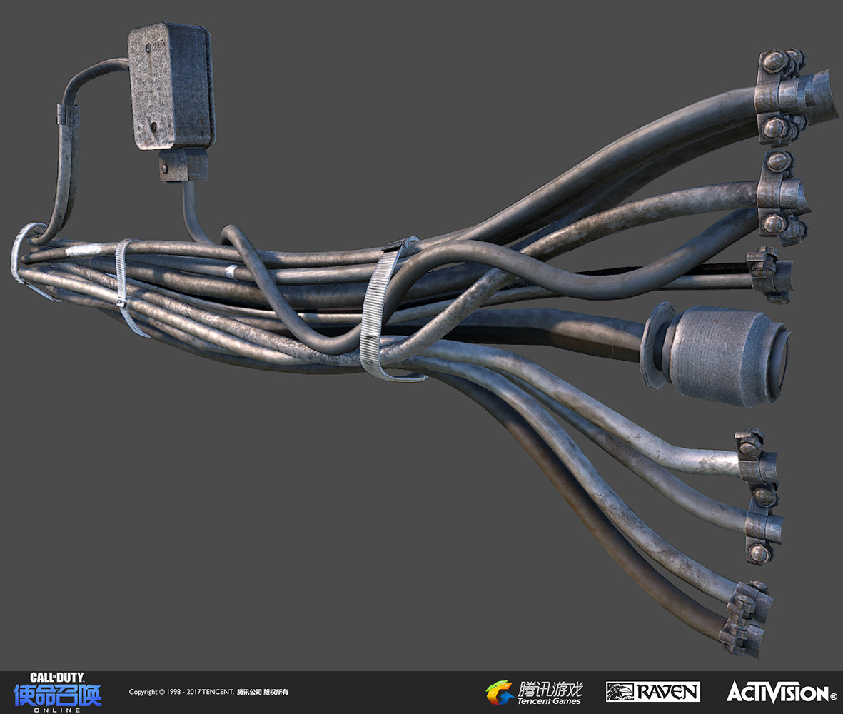 Bundled cable model #2, built in 3DS Max and textured using Quixel's DDO and Photoshop.