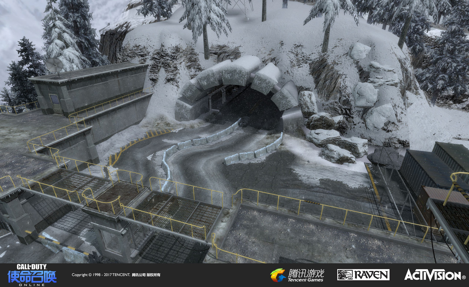 Summit: This is a multiplayer map re-created from Black Ops. I recreated the end section of the map and themed it as a security checkpoint/entrance. I was resonsible for geo, terrain, and texturing in this area. Pat Williams created the buildings.