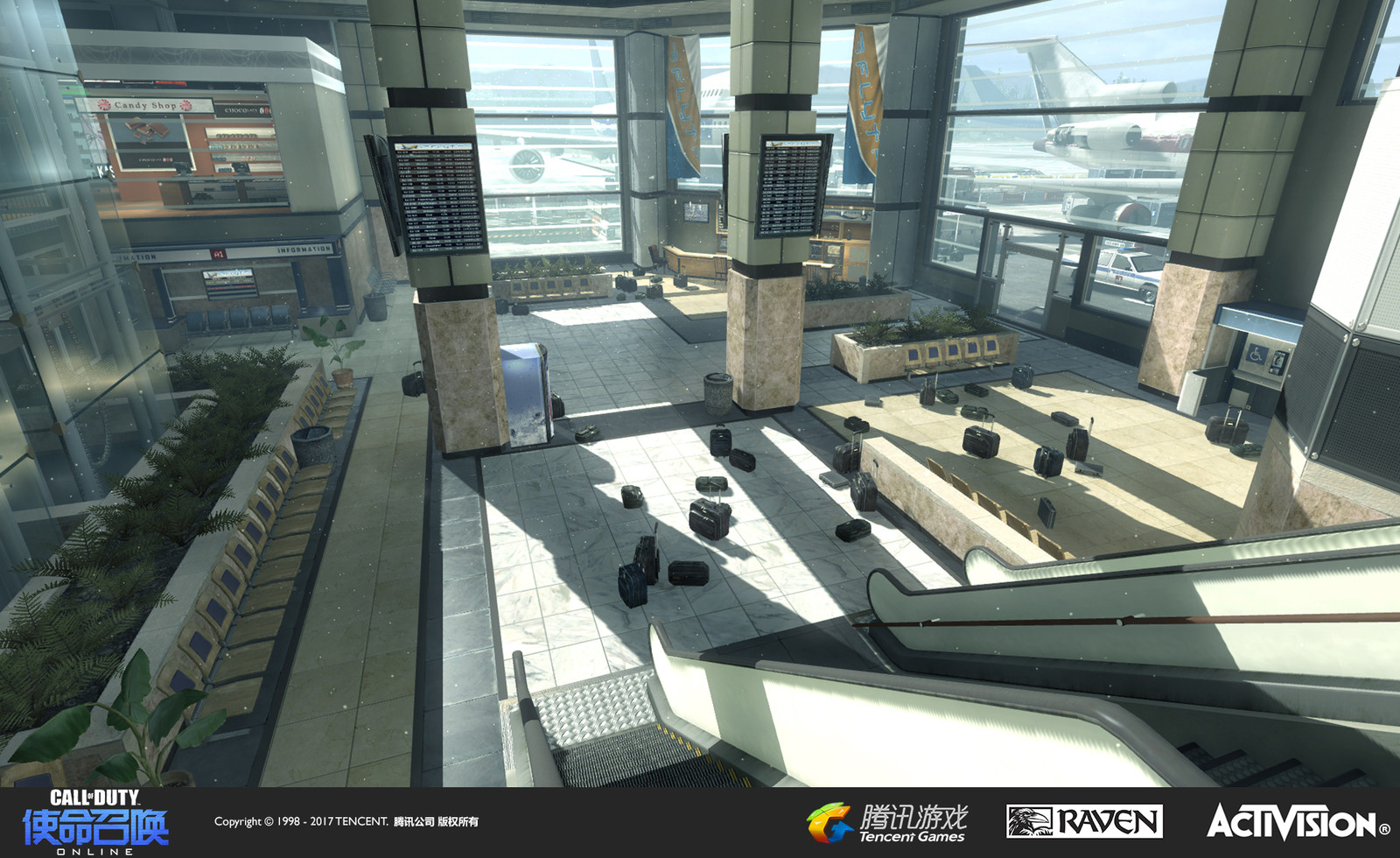 Terminal: A re-creation of the muliplayer map in Modern Warfare 2. I recreated the floor, color scheme, and set dress in this area.