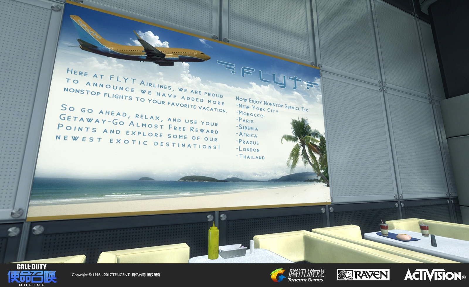 Terminal: A re-creation of the muliplayer map in Modern Warfare 2. I re-themed the ads with a new fictional airline with logo and design work.