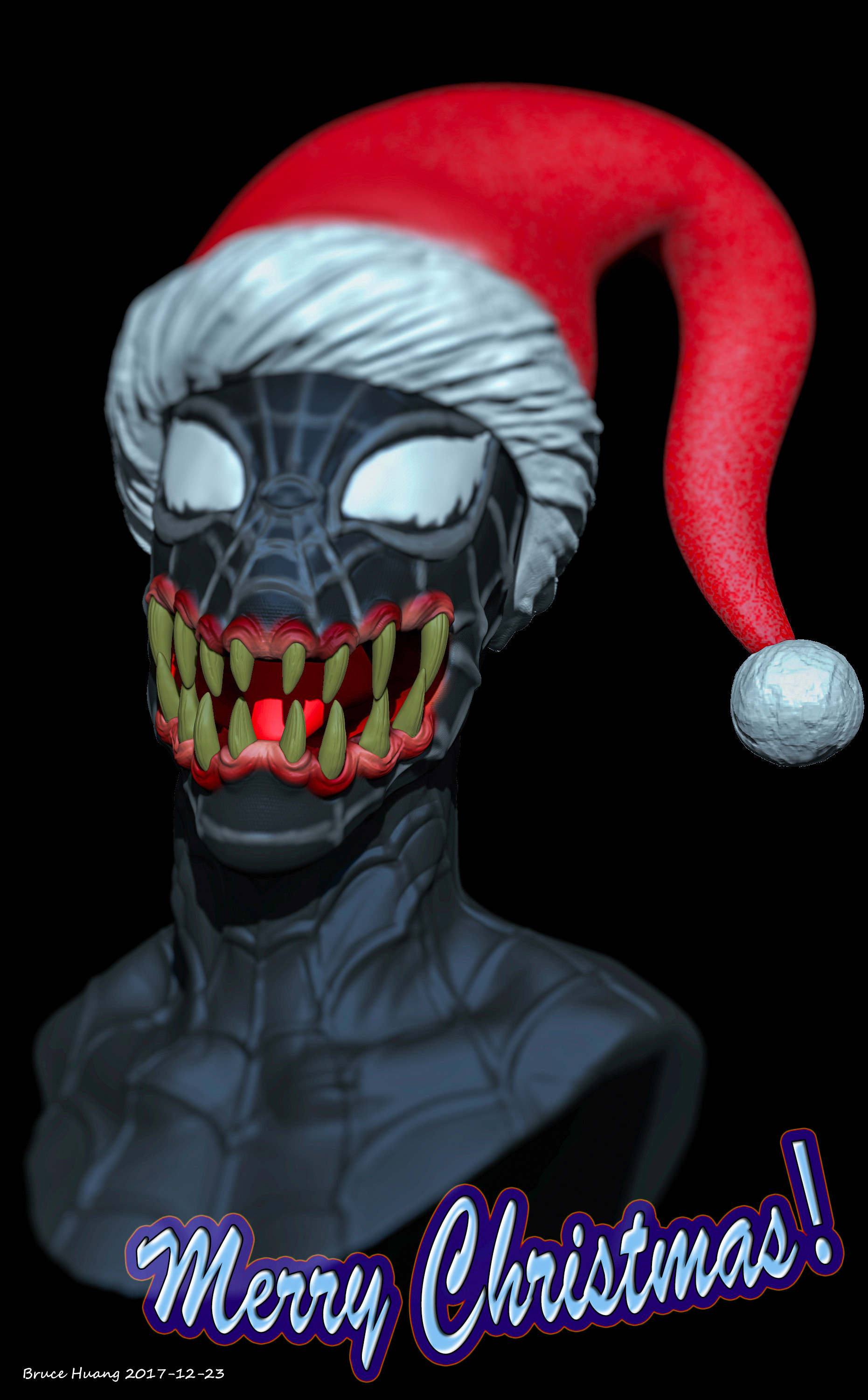 Spiderman Christmas.Bruce Huang Merry Christmas Spiderman