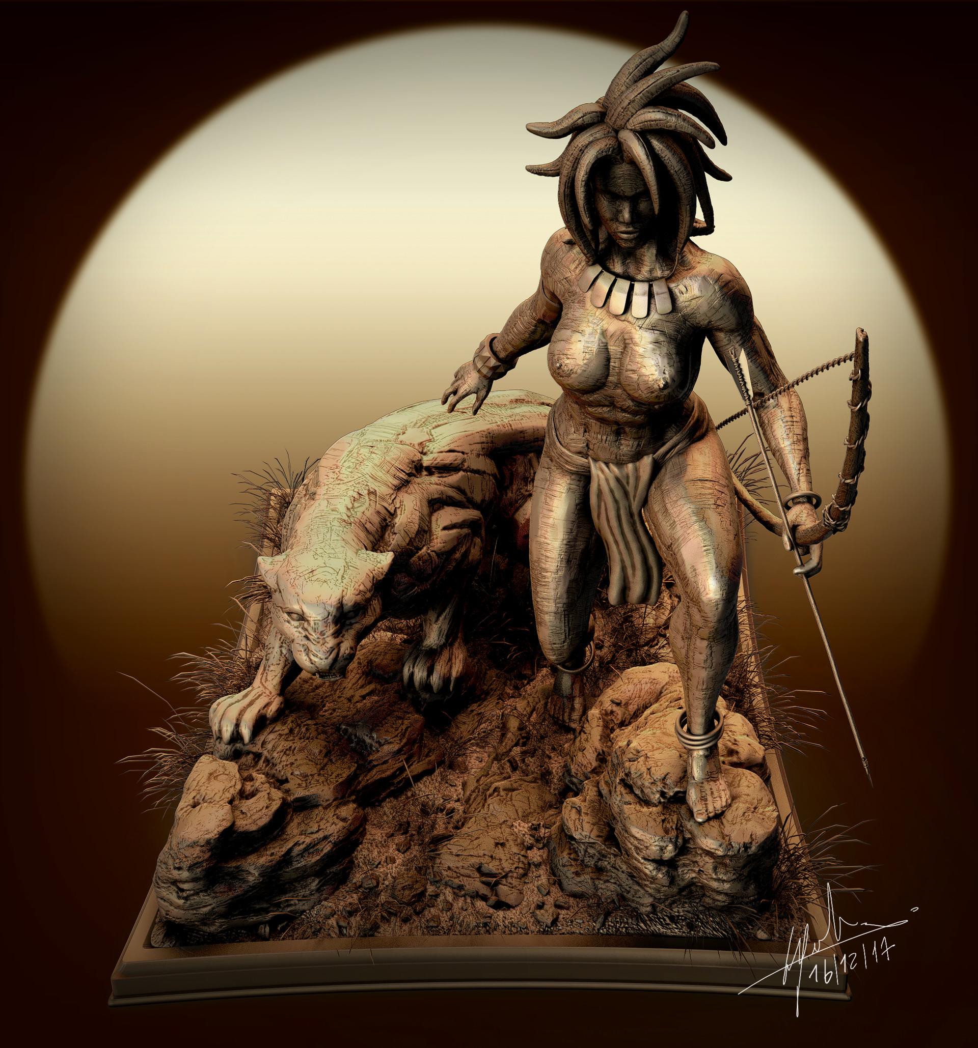Fabien cazenabe black panter sculpt anatomy art cazenabe fabien 05
