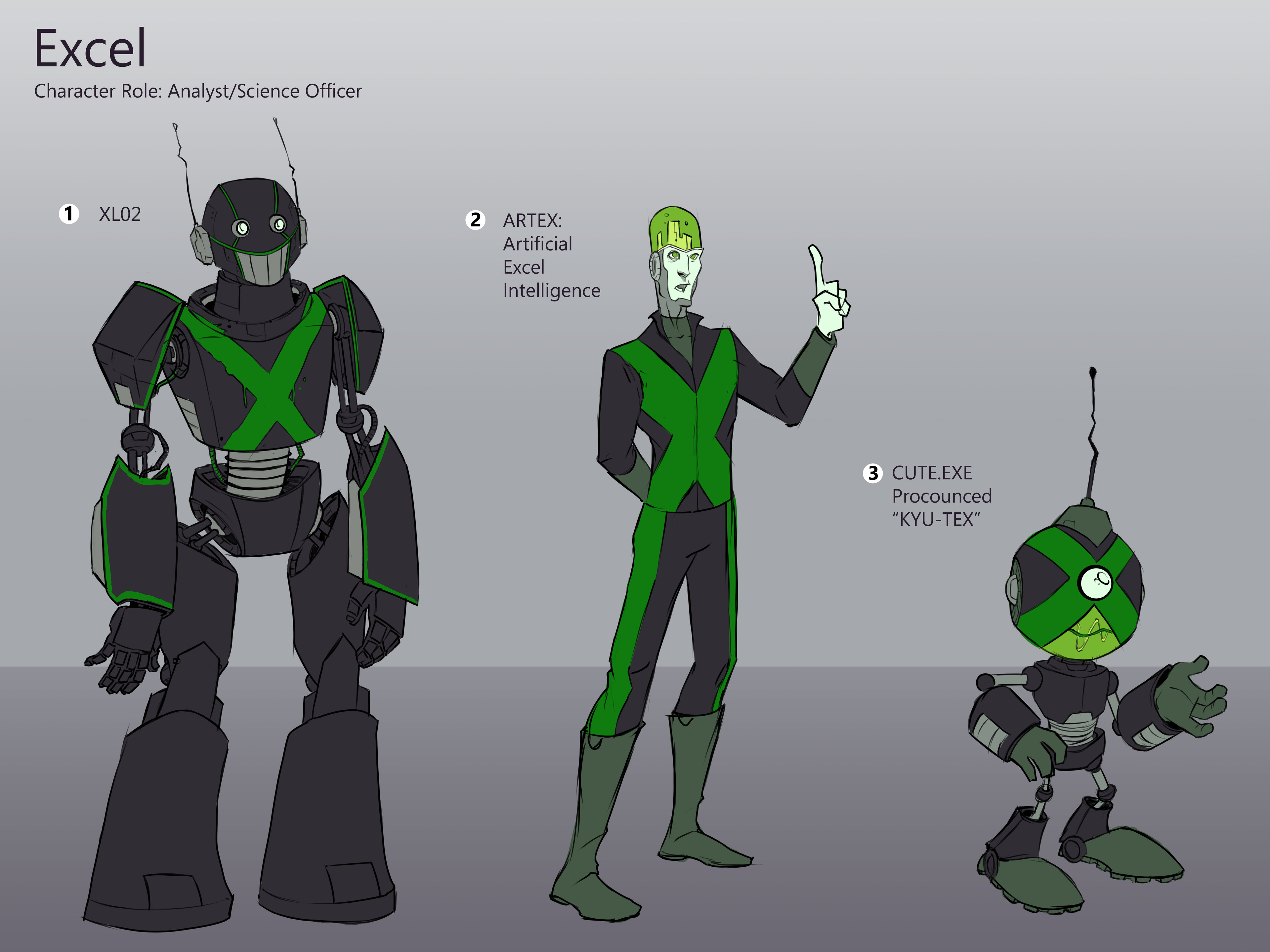 Refined character designs and color flats based on the Excel branding guidelines