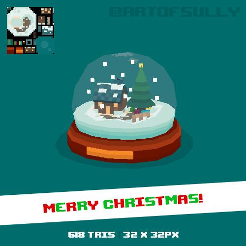 3D Pixel-Art Snowglobe