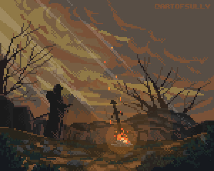 Pixel-Art Bonfire 'Dark Souls' fanart + Timelapse (Commission)