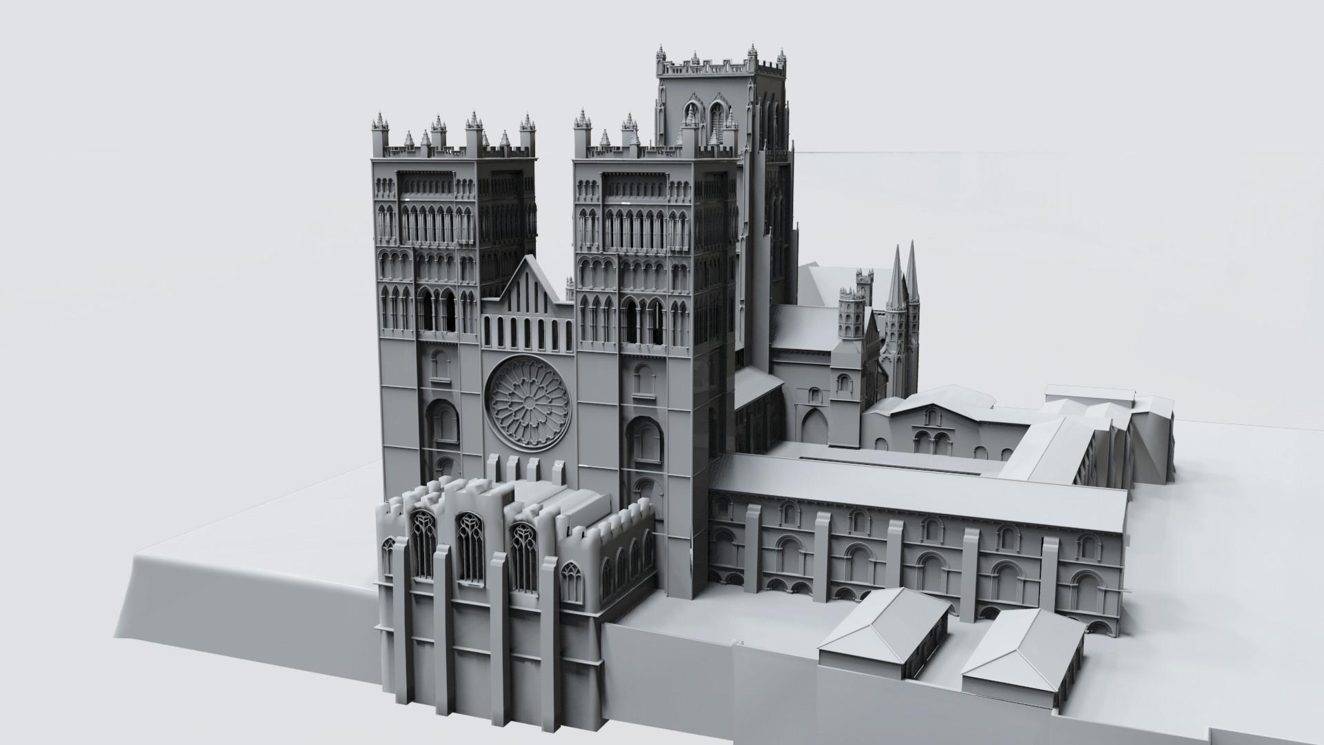 Durham Cathedral Exterior (untextured). Done as part of an FXPHD class I taught