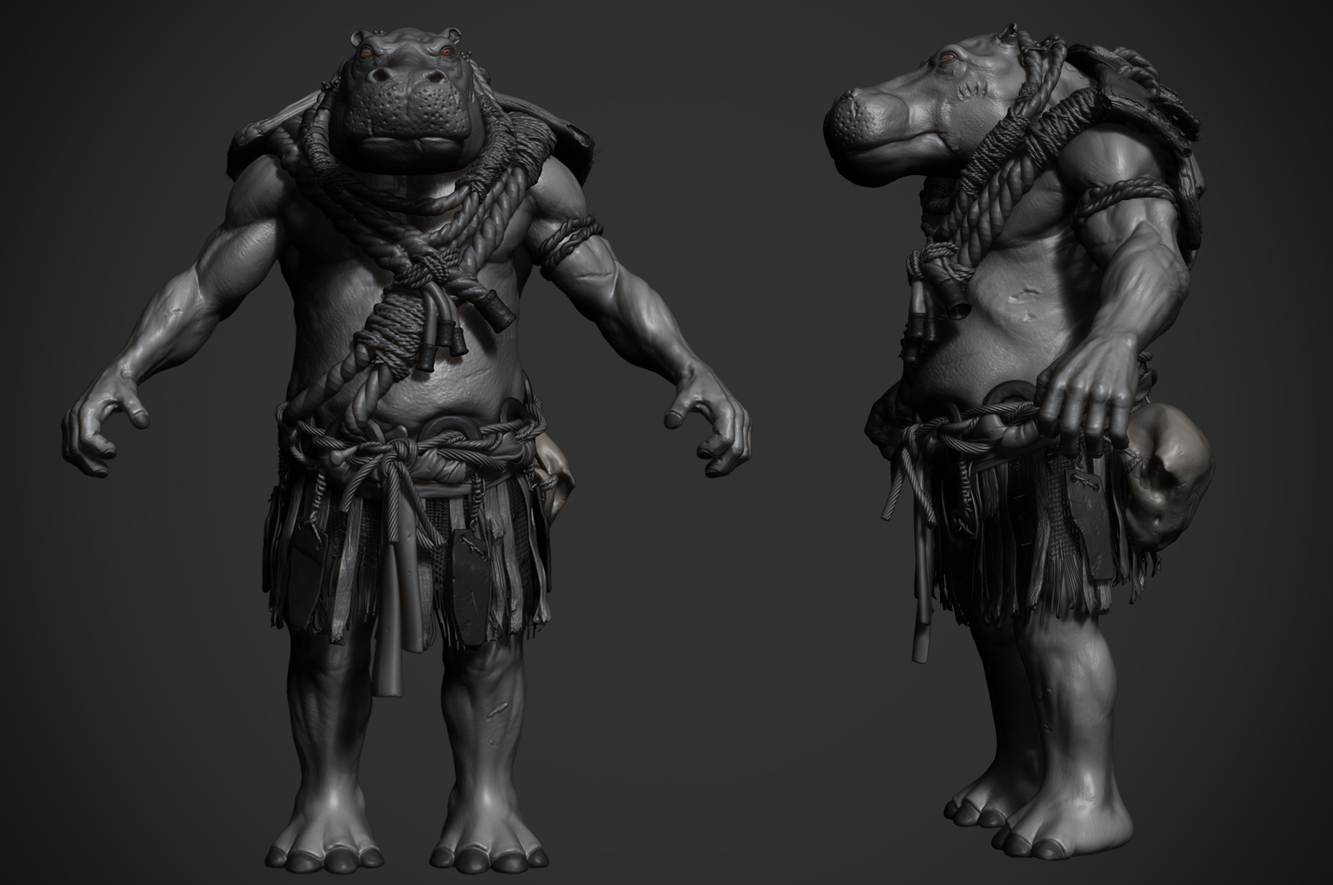 Omar chaouch hippo animal warrior omar chaouch wip 02