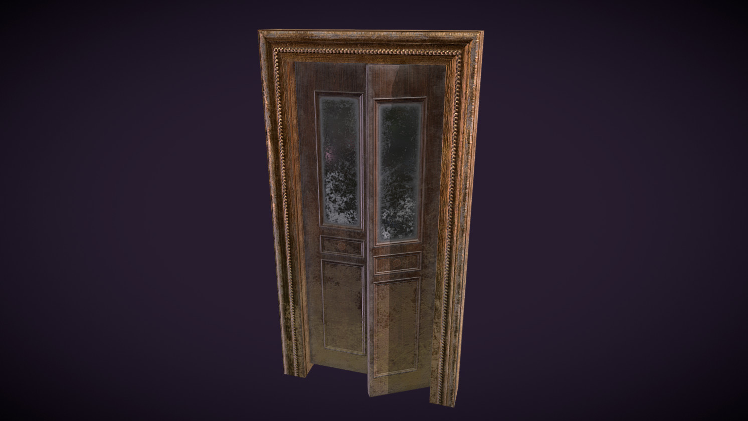 Weathered Low Poly Door and Frame